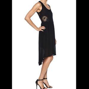 Dex high/low midi dress with crochet lace cutouts